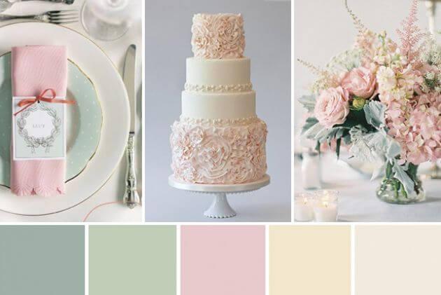 groen met roze kleurenthema bruiloft