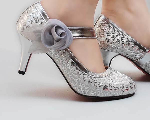 Zilveren trouwschoenen