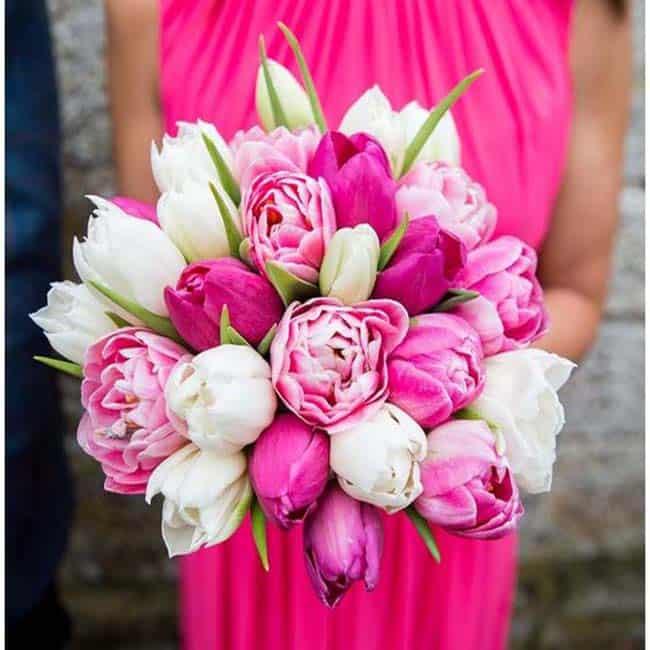 bruidsboeket gemengde roze tulpen