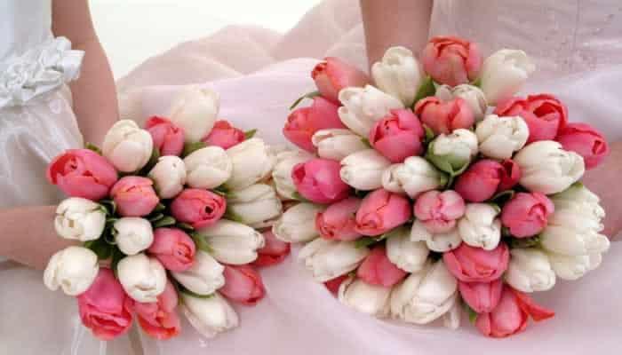 Bruidsboeketten met tulpen