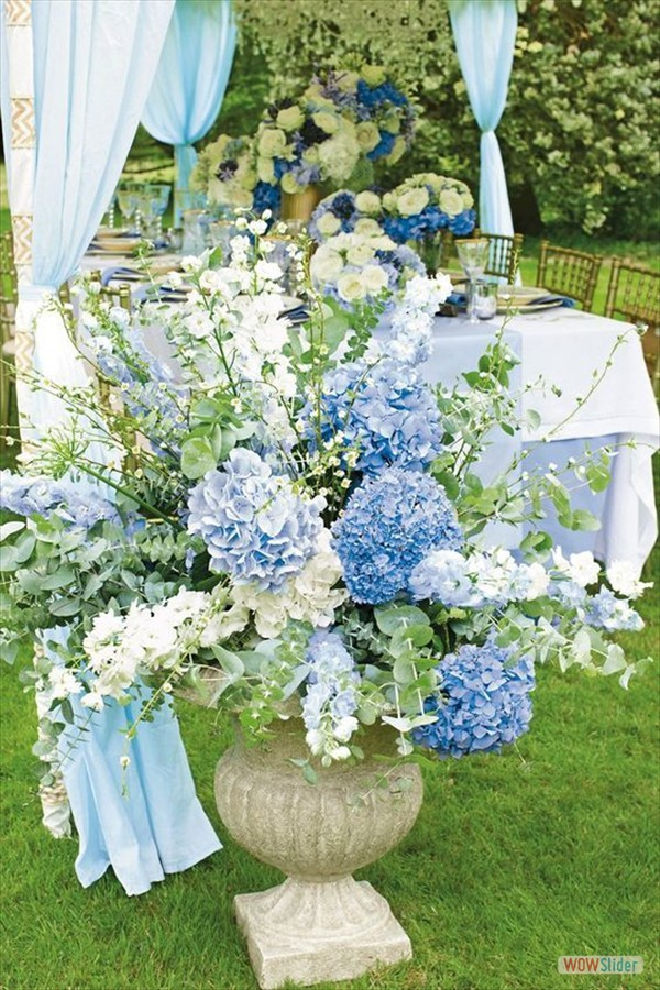 Decoraties huwelijk blauw