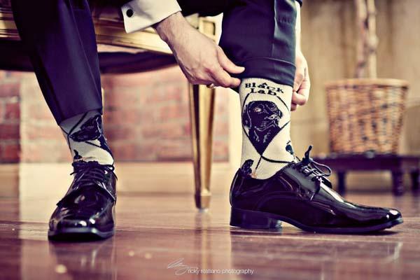 Trendy sokken bruidegom