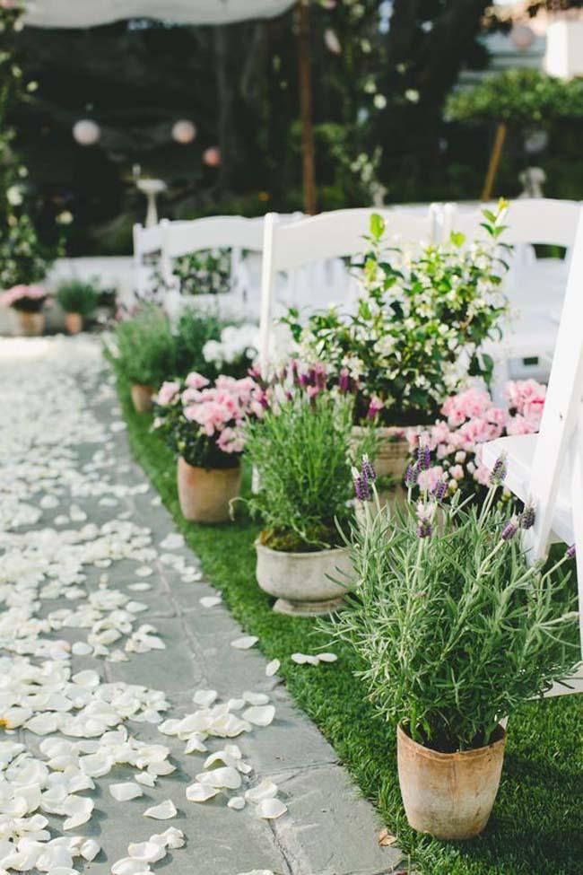 Potplanten lente bruiloft ceremonie